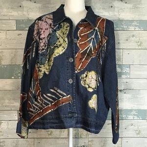 Chico's boho denim jacket sz 3/16            0227